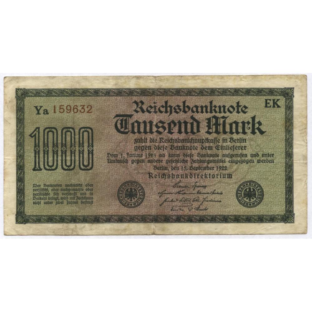 1000 марок 1922 г. Германия